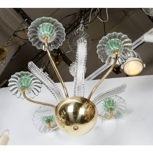 Italian, 1950s Murano Glass and Brass Chandelier For Sale In New York - Image 6 of 7