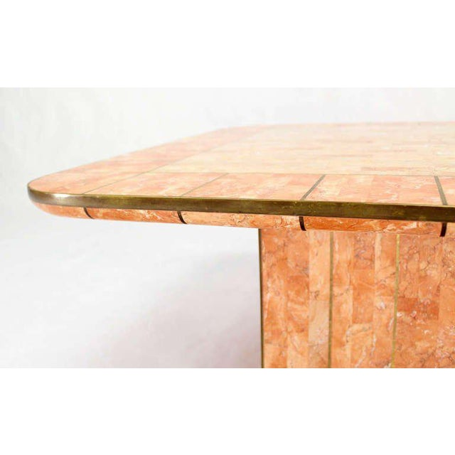Mid-Century Modern Maitland Smith Tessellated Stone Brass Mid Century Modern Rectangle Coffee Table For Sale - Image 3 of 10