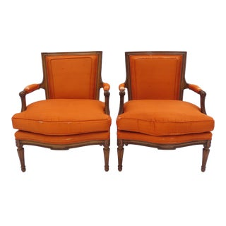 A Pair of Louis XVI Style Fruitwood Armchairs, French 1950s Down Filled Fauteuil For Sale
