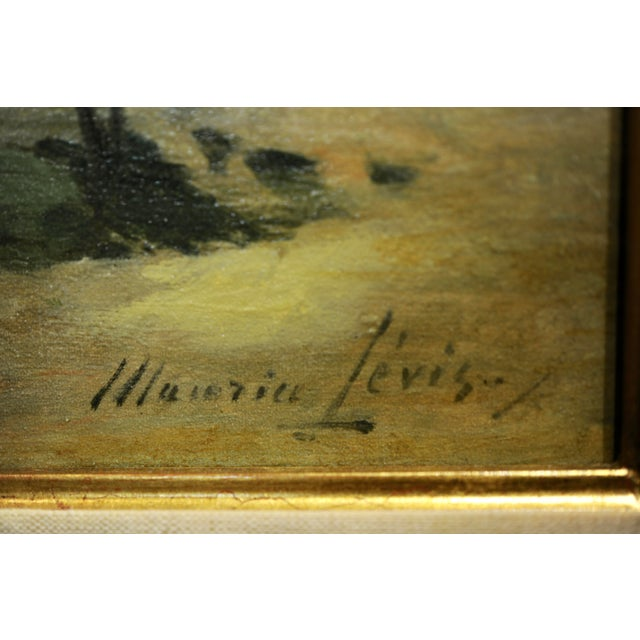 Canvas Maurice Levis -Picturesque French River Scene -19th Century Oil Painting For Sale - Image 7 of 10