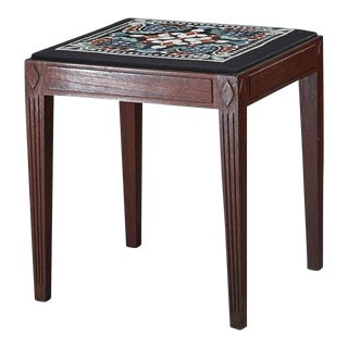 Danish Teak Stool with Embroidered Seating, 1940s For Sale