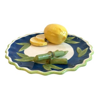 20th Century Figurative Trompe L' Oeil Decorative Lemon & Bamboo Wall Plate For Sale