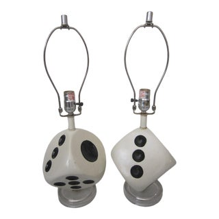 Mid Century Dice Lamps on Lucite Base - a Pair For Sale