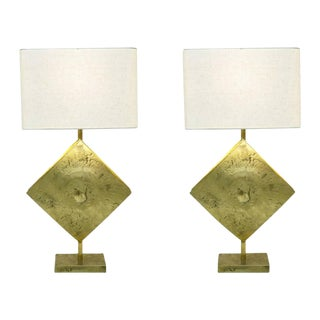 Italian Design Contemporary Brutalist Cast Bronze Double Lit Lamps - a Pair For Sale