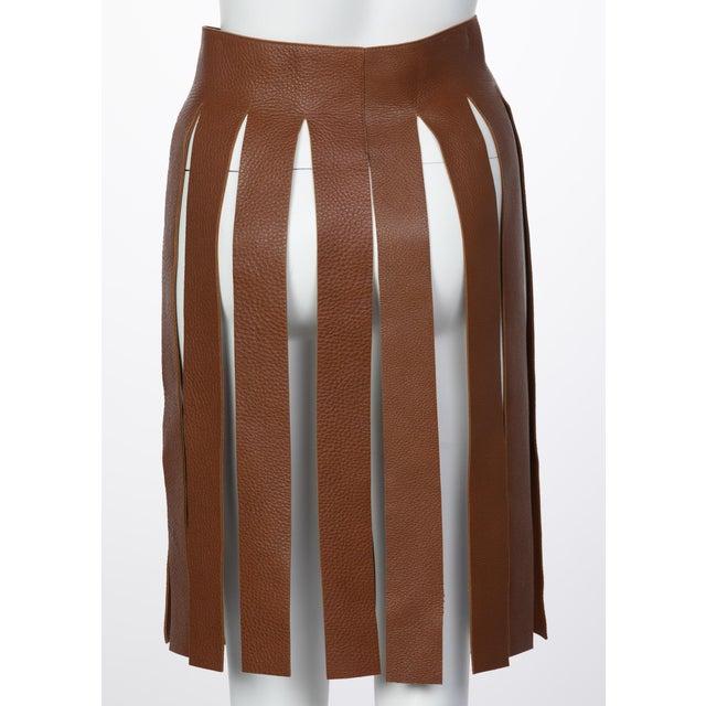 Boho Chic Prada Brown Pebbled Leather Fringe Waist Belt / Skirt Overlay For Sale - Image 3 of 6