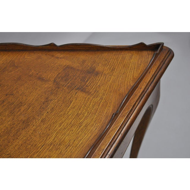 Cherry Wood Country French Louis Triangle Side Table For Sale - Image 7 of 10