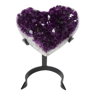 Antique Heart Shaped Amethyst Geode Sculpture For Sale