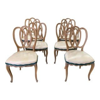 Set of 6 French Triple Oval Splat - Ribbon Back Dining Chairs - 2 Arm Chairs, 4 Side Chairs For Sale