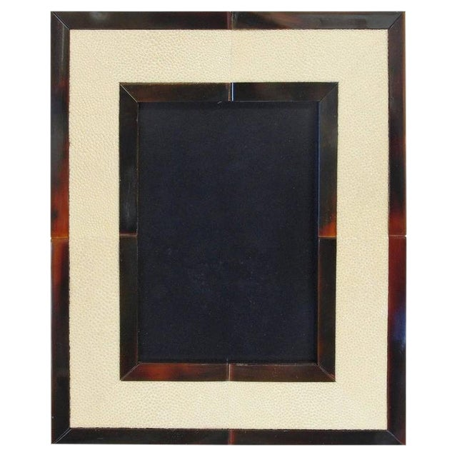 Ivory Shagreen and Brown Horn Photo Frame by Fabio Ltd For Sale