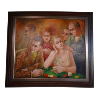 """Circa 1940s """"A Friendly Game"""" Figurative Oil Painting by Burr Singer, Framed For Sale"""