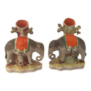 Pair of 19th Century English Staffordshire Elephants For Sale