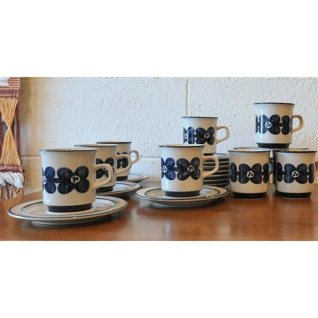 Mid-Century Design Four Cobalt Mugs & Saucers - 10 - Image 3 of 9