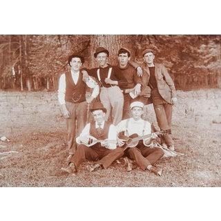 Antique Photograph Handsome Boy Band Mandolin & Guitar For Sale