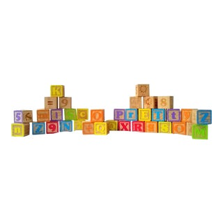 Vintage Alphabet Blocks- Set of 36 For Sale
