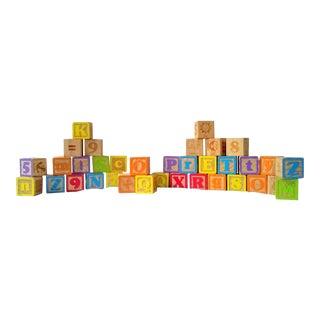 Vintage Alphabet Blocks- Set of 36