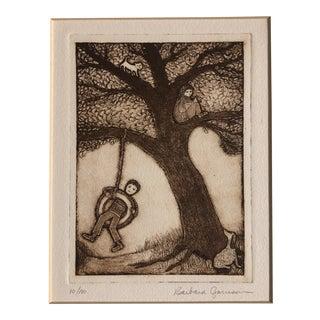 "Original Vintage Barbara Garrison Etching ""Morning Tree"" Animals & Children at Play For Sale"