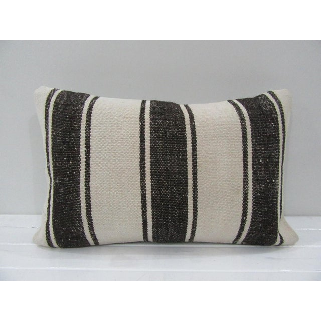 Vintage Handmade Black and White Striped Turkish Kilim Pillow Cover For Sale - Image 4 of 4