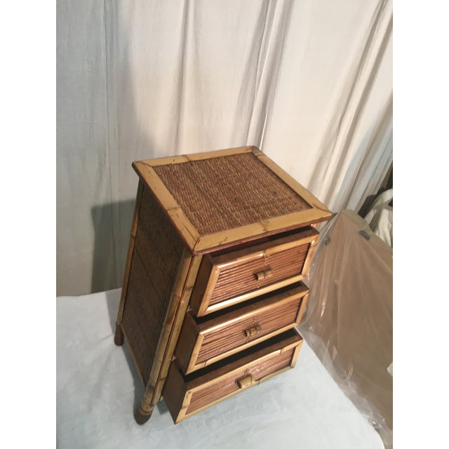 Vintage Rattan and Bamboo Nightstand For Sale - Image 4 of 7