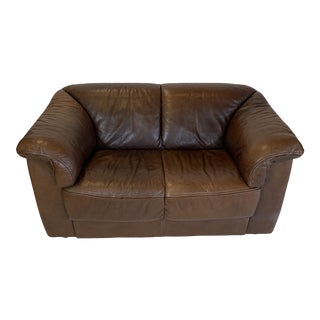 Italian Brown Leather Roche Bobois Style Loveseat For Sale