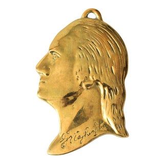 Vintage George Washington Brass Silhouette Wall Hanging For Sale