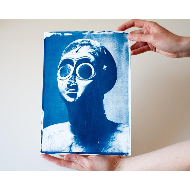 Contemporary Sumerian Hollistic Sculpture, Cyanotype Print on Watercolor Paper, A4 Size (Limited Edition) For Sale - Image 3 of 3