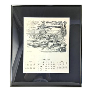 1947 Paul Desmond Brown Calendar for Brooks Brothers For Sale