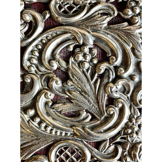 Metal Ornate Sterling Silver Book Cover Photo Scrap Album W Red Leather Interior For Sale - Image 7 of 13