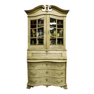 Dutch Bleached Oak Cupboard with Scrolled Top For Sale
