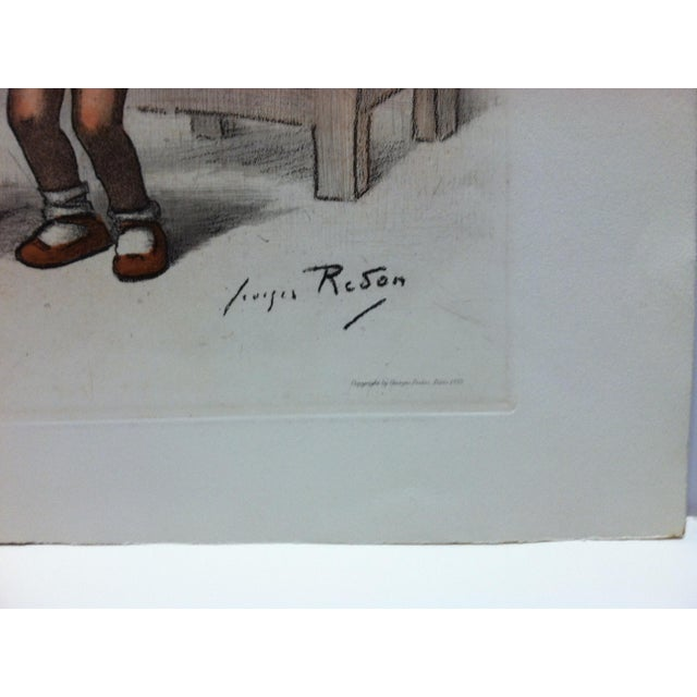 """French 1939 Vintage """"Tres Peu D' Eau"""" French Hand-Colored Print by Reson For Sale - Image 3 of 4"""