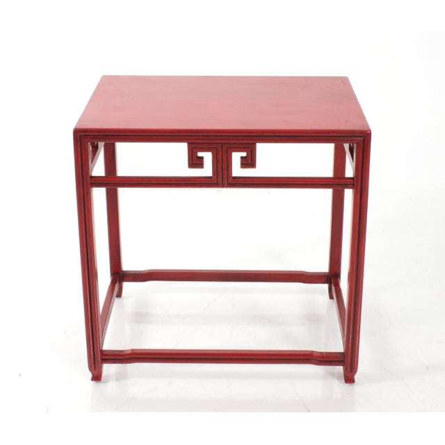 1970s Pair of Michael Taylor for Baker Far East Red Side Tables For Sale - Image 5 of 9
