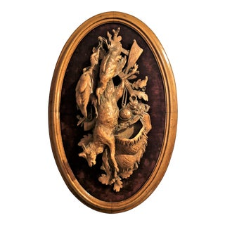 "Antique Swiss Carved Walnut Hunter's ""Nature Mort."" For Sale"