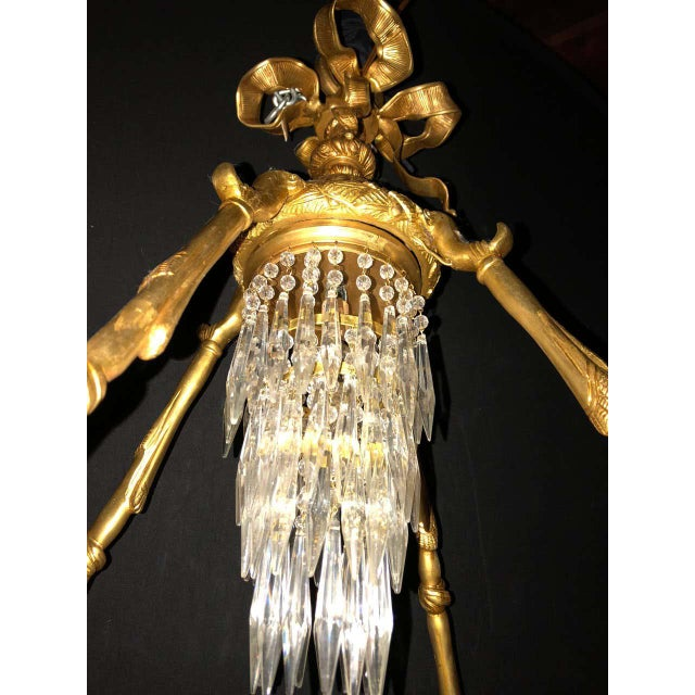Metal Bronze Louis XVI Style Crystal Ribbon and Tassel Drapery Chandelier For Sale - Image 7 of 10