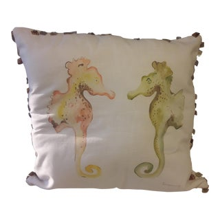 Eastern Accents Hand-Painted Seahorses Pillow Cover For Sale