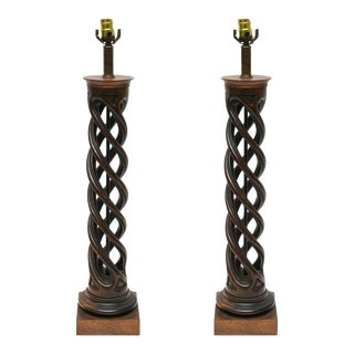 Pair of Frederick Cooper Helix Lamps, 1950s For Sale