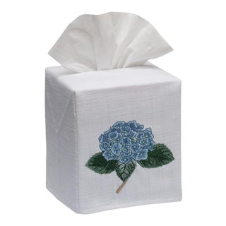 Blue Hydrangea Too Tissue Box Cover in White Linen & Cotton, Embroidered For Sale