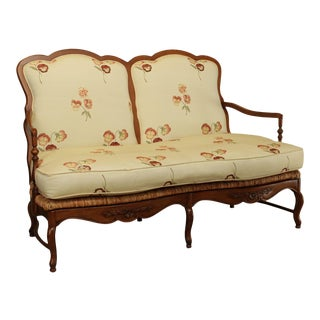 Drexel Heritage French Country Style Rush Seat Settee For Sale
