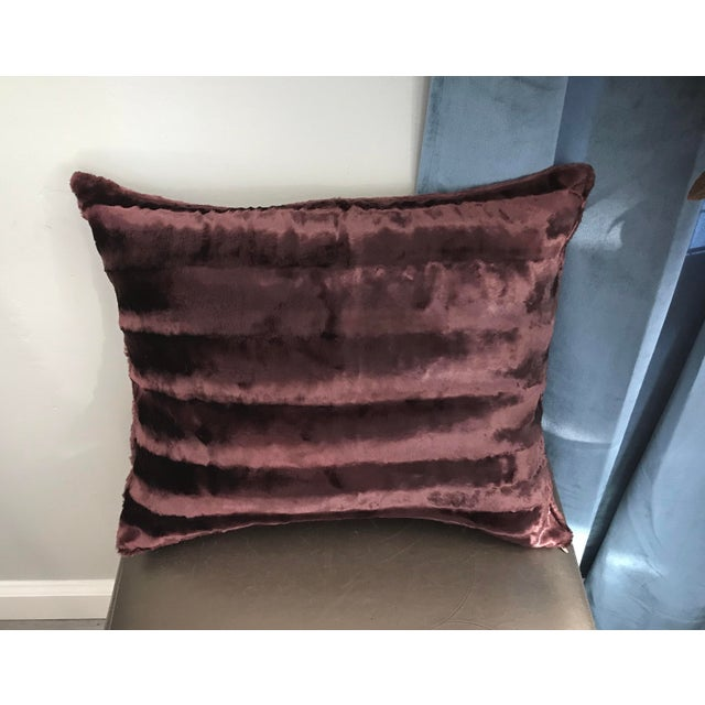 Chocolate Brown Faux Mink Rectangular Luxury Pillow With Down Filling For Sale - Image 4 of 4