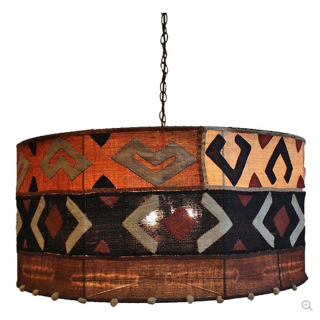 Kuba Cloth Drum Shape Chandelier For Sale
