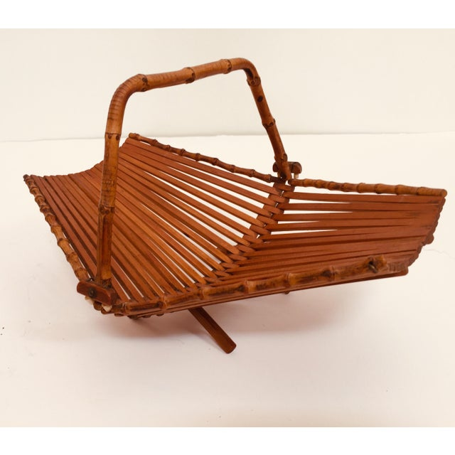 Mid-Century Japanese Folding Bamboo Basket With Handle For Sale - Image 12 of 12