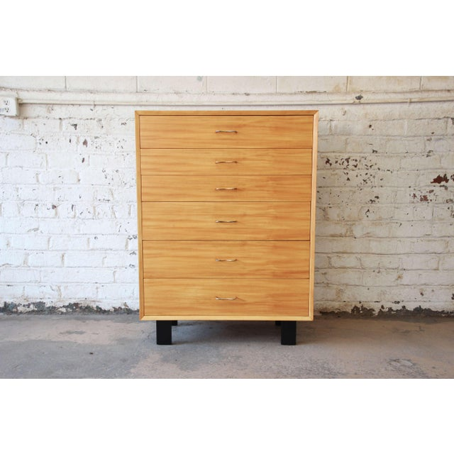 Offering a very nice newly restored George Nelson highboy dresser for Herman Miller. The dresser has six smooth sliding...