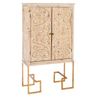 Ananda Tall Embossed Bar Linen Cabinet For Sale