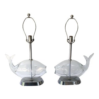 Mid Century Blenko Glass Fish Lamps- a Pair