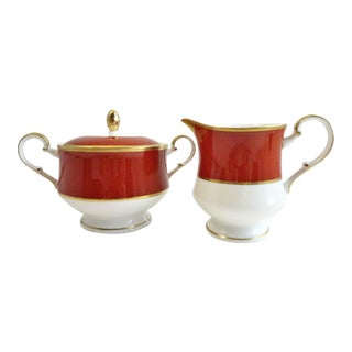 Mikasa Egyptian Terracotta Creamer & Sugar Bowls - A Pair For Sale