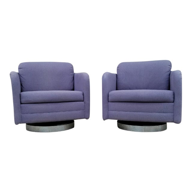 Vintage Lilac Swivel Club Chairs - A Pair - Image 1 of 5
