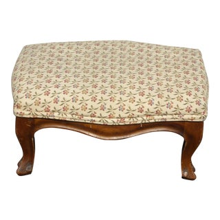 Vintage French Country Provincial Tan Floral Footstool