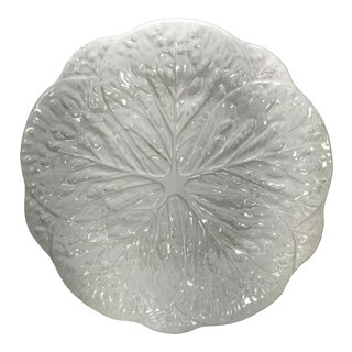 White Cabbage Ware Leaf Majolica Dinnerware Decorative Plate For Sale