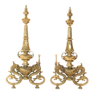 Antique French Brass Dragon Andirons - a Pair For Sale