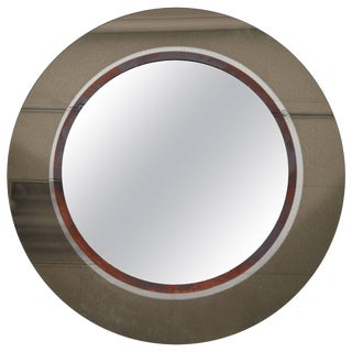 Large Smoked Glass With Patinated Ring Circular Mirror, Circa 1960 For Sale