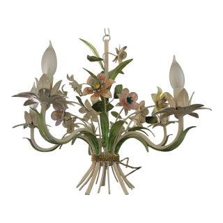 Vintage Italian Tole Five-Arm Floral Chandelier For Sale