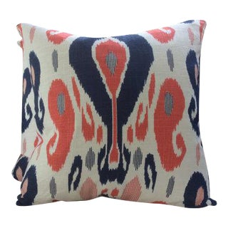 Duralee in John Robshaw Fazil Lapis & Coral Handprinted Sulu Ikat Woven Pillows - a Pair For Sale